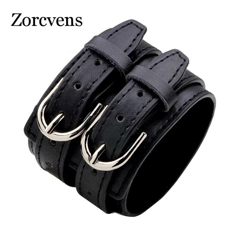 ZORCVENS Fashion Double Belt Leather Wrist Friendship Big Wide Bracelet for Men Buckle Vintage Punk Jewelry gold earrings for women