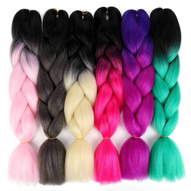 SAMBRAID 24 Inch Ombre Synthetic Braiding Hair Jumbo Braid For Crochet Hair Extensions 100g/Pack