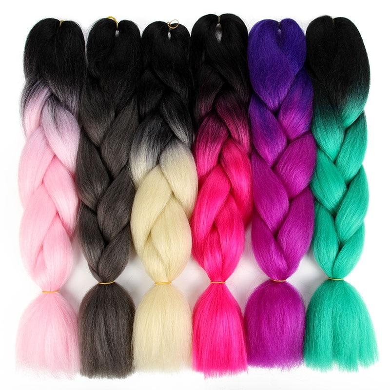 SAMBRAID 24 Inch Ombre Synthetic Braiding Hair Jumbo Braid For Crochet Hair Extensions 100g/Pack