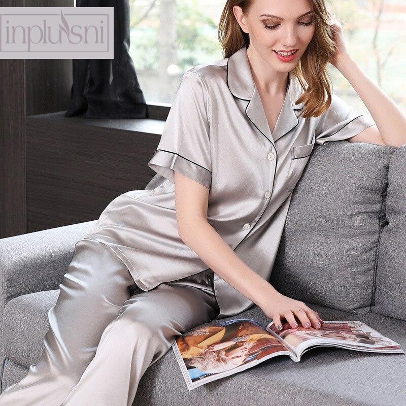 Inplusni женские пижамные комплекты натурального шелка пижамы костюмы летние короткие рукава чистый цвет Пижама контракт стрейч атласные шелк