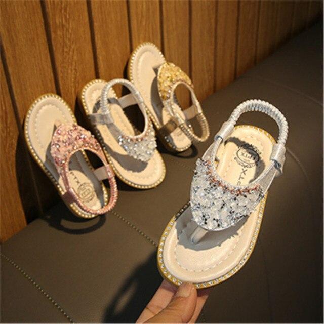 Xinfstreet Baby Girls Sandals Bling Rhinestone Princess Children Shoes Toddler Beach Sandals Kids Summer Shoes Size 21-30 4