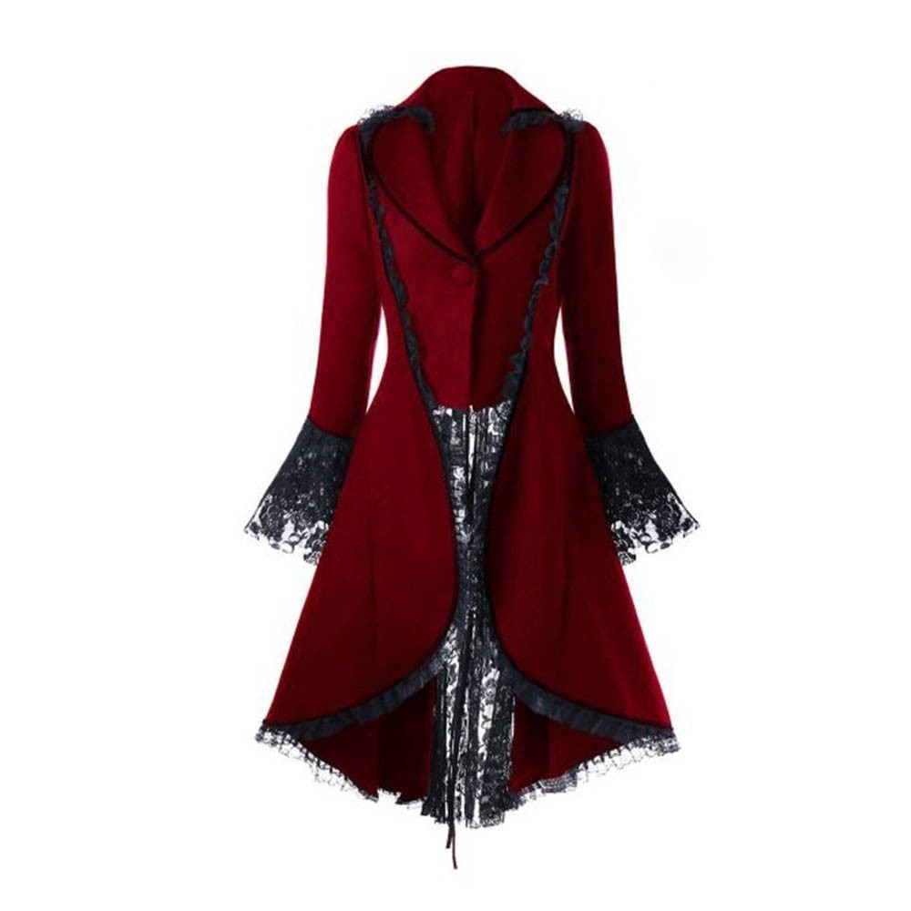 Black Gothic Dress Jacket with Cape Vintage Turn-down Collar Lace Flare Sleeves Dresses Halloween Mysterious vampire Dress 1
