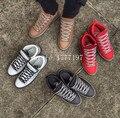 2017 Nuevo Al Aire Libre de Alta Calidad de La Manera de Los Hombres Atan Para Arriba Los Zapatos nombre de Marca de Alta Superior Ocasional del Hombre de Cuero Genuino Planos Para Caminar zapatos
