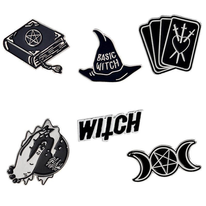 Gold Black White Enamel Pin Gesture Witch Book Wizard Badge GOOD VIBES Brooch Lapel Pins Denim Jeans Shirt Bag Punk Jewelry Gift