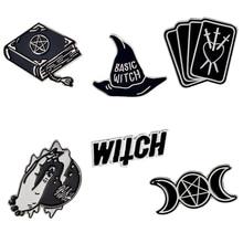 Witch Enamel Pin Black Magic book Wizard hat Tarot Crystal ball Triple moon Lapel Brooch Denim Jackets Jeans Pin Punk Badge triple moon