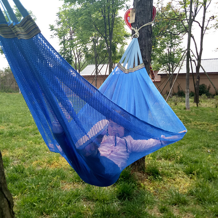 Two-person Ribbon Ice Silk Hammock Camping 200*130cm Summer Hanging Chair Outdoor Furniture Breathable Swing Hammock Camp