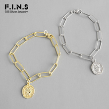 F.I.N.S Silver 925 Link Chain Bracelet Golden Sterling Bracelets for Women Portrait Coin Pendant Charm
