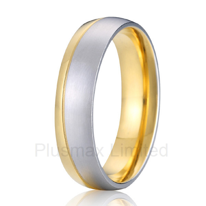 China Supplier life collection two tone comfort fit couples promise wedding band rings for men alliances china wholesaler simple classic designs two tone classic domed titanium wedding band rings