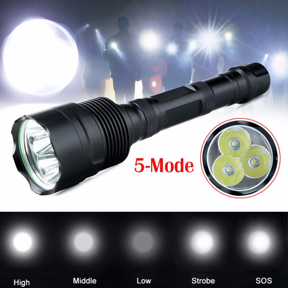 2017 New CREE XM-L 3800-lumens 5Mode 3*T6 LED Aluminum Flashlight Torch Lamp portable camping hiking emergency light 3800 lumens cree xm l t6 5 modes led tactical flashlight torch waterproof lamp torch hunting flash light lantern for camping z93