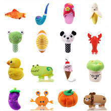 1pc Plush Dog Toys Squeaky Bone Ice Cream Carrot Puppy Chew Toy Interactive Cat Pet Sound For Small Dogs