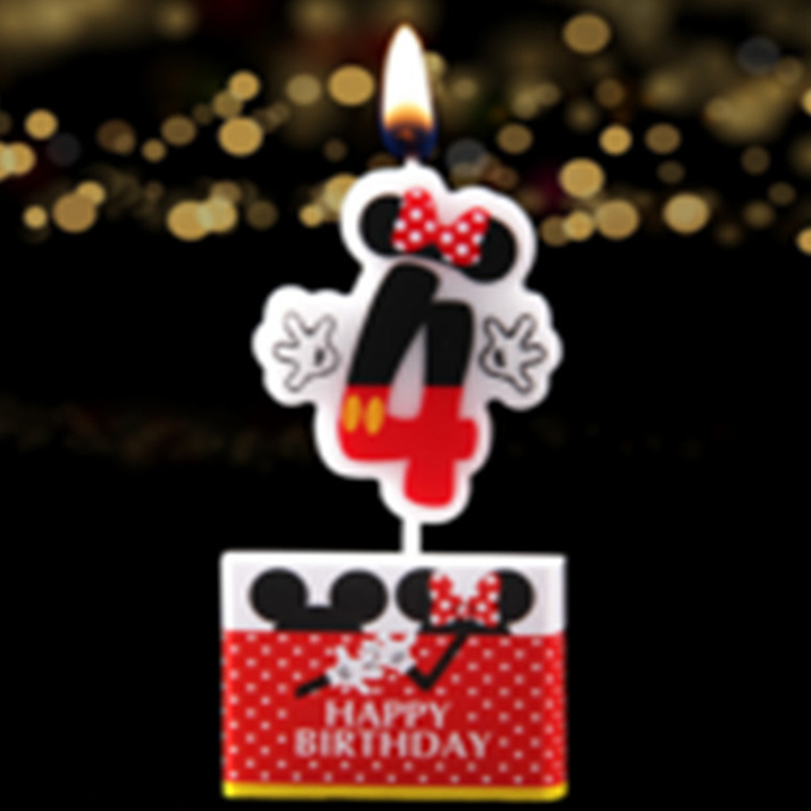 1pcs Mickey Mouse Number Cake Candles Party Favors Ideas Baby Shower