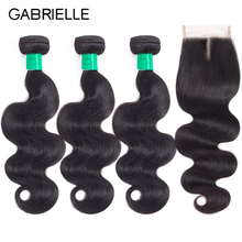 Gabrielle Hair Brasilian Body Wave Hair 3 Bundlar With Closure Natural Color 100% Non Remy Human Hair Weave Bundles With Closure