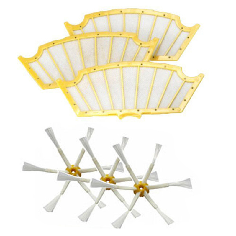 3 pack Filters+ Side Brush 6 Arms for iRobot Roomba 500 Series 530 550 560 570 3 filters 3 side brush 3 armed vacuum cleaner accessory kit for irobot roomba 500 series 530 540 550 560 570 580 610
