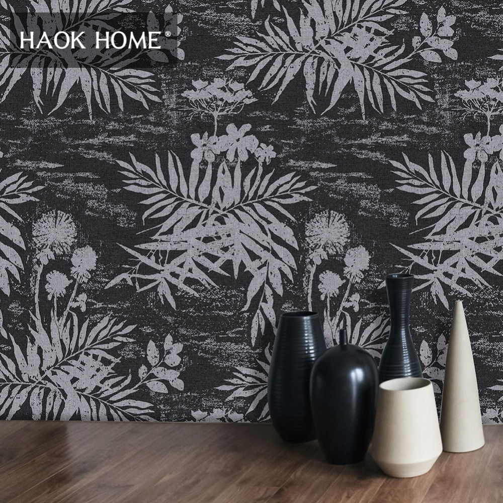 HaokHome 3d Faux Wood Wallpaper Roll 0.53m*10m Tree Leaf Contact paper Murals Black Home Bedroom Living room DecorHaokHome 3d Faux Wood Wallpaper Roll 0.53m*10m Tree Leaf Contact paper Murals Black Home Bedroom Living room Decor