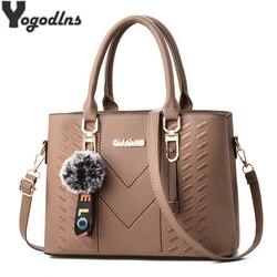 Новые Элегантные дизайнерские женские сумки-мессенджеры из искусственной кожи однотонные сумки через плечо Hairball сумка на плечо большая же...