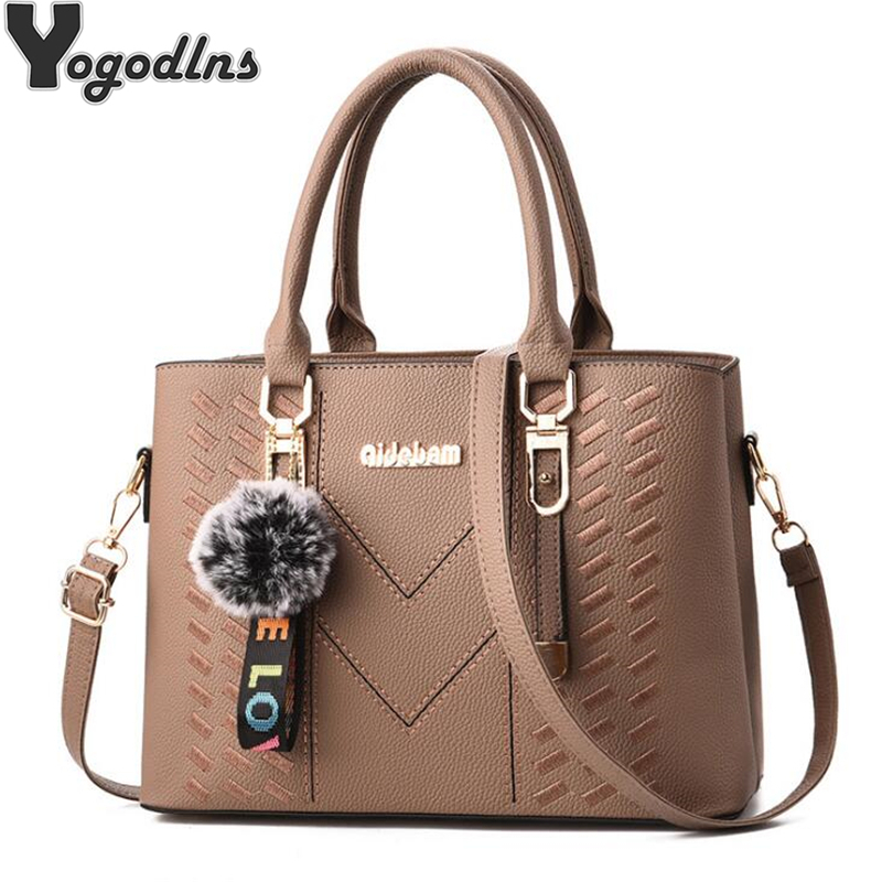 New Elegant Designer Women Messenger Bags PU Leather Solid Color Crossbody Bags Hairball Shoulder Bag Large Shopping Hand Bag