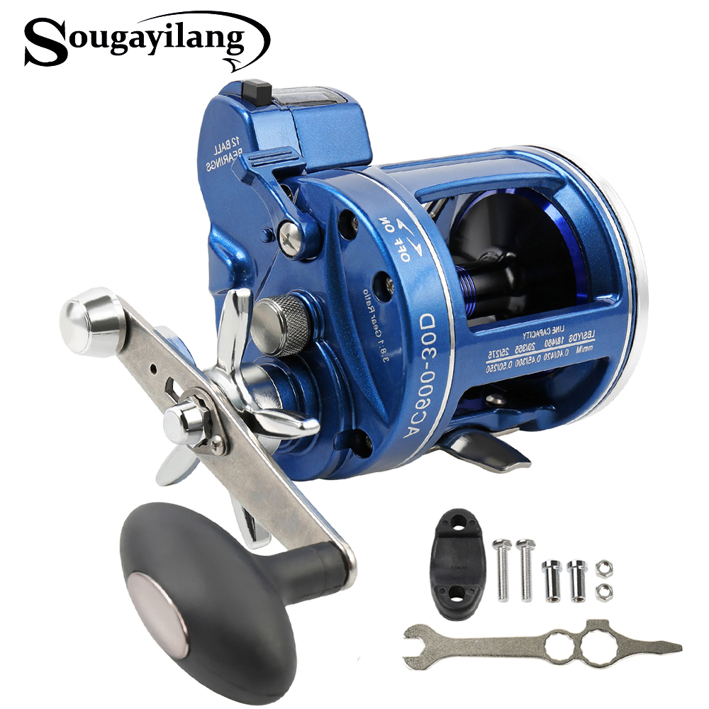 Sougayilang Strong Trolling Fishing Reel 12BB Right Left Hand Saltwater Trolling Reels with Line Counter Alarm