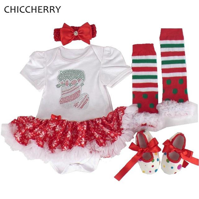 Meias Criança Rendas Romper Vestido de bebê Menina Veste Traje Do Natal Headband Polainas Sapatos Novos Nascidos Conjunto Infantil De Menina