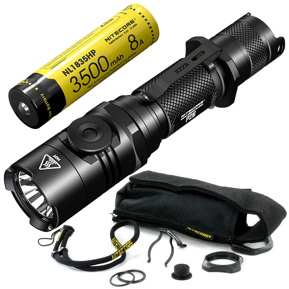 NITECORE P26 LED Flashlight CREE XP-L HI V3 LED 1000LM Tactical Flashlight Rotary Swith Hunting Torch by 18650 Battery