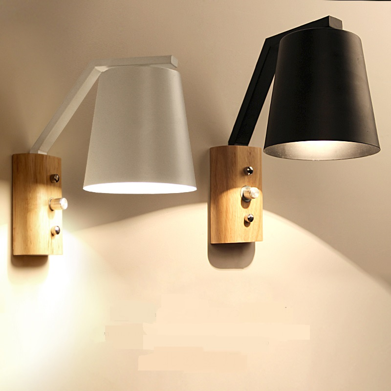 Wooden Wall Lamps Creative Living room background Bedroom bedside Loft Garden Balcony Aisle Corridor Black/ White Wall Light ZA creative bedside wall lamp modern minimalist rectangular corridor balcony living room bedroom background lighting fixture