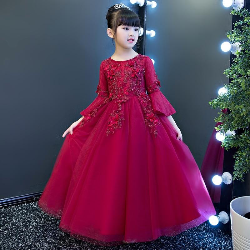 2017秋の花の女の子のドレス結婚式のための赤いレース女の子フォーマル誕生日パーティードレスプリンセスドレスキッズ長いvestido  グループ上の ママ & キッズ からの ドレス の中 1