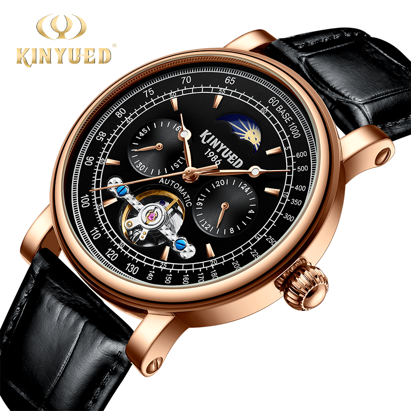 KINYUED Tourbillon Moon Phase Automatic Men Watch Mechanical Mens Watches Rose Gold Leather Waterproof Skeleton mekanik kol saat стоимость
