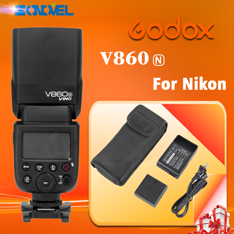 Godox VING V860N V860 I-TTL HSS Master Li-ion Flash Speedlite 1/8000s for NIKON d800 d90 d600 d7000 d7100 godox ving v860n speedlite ttl li ion speedlight flash high speed godox ft 16s wireless flash trigger kit for nikon dslr