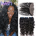 Iwish 7A Ear to Ear Lace Frontal Weave Peruvian Virgin Hair with Closure Human Hair with Closure Peruvian Water Wave Virgin Hair
