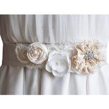 Nuevo Hecho A Mano de Flores y Repiques Correas de Cintura Cinturón Nupcial para Las Mujeres Del Vestido de Boda Cintura Del Bebé Party Girls