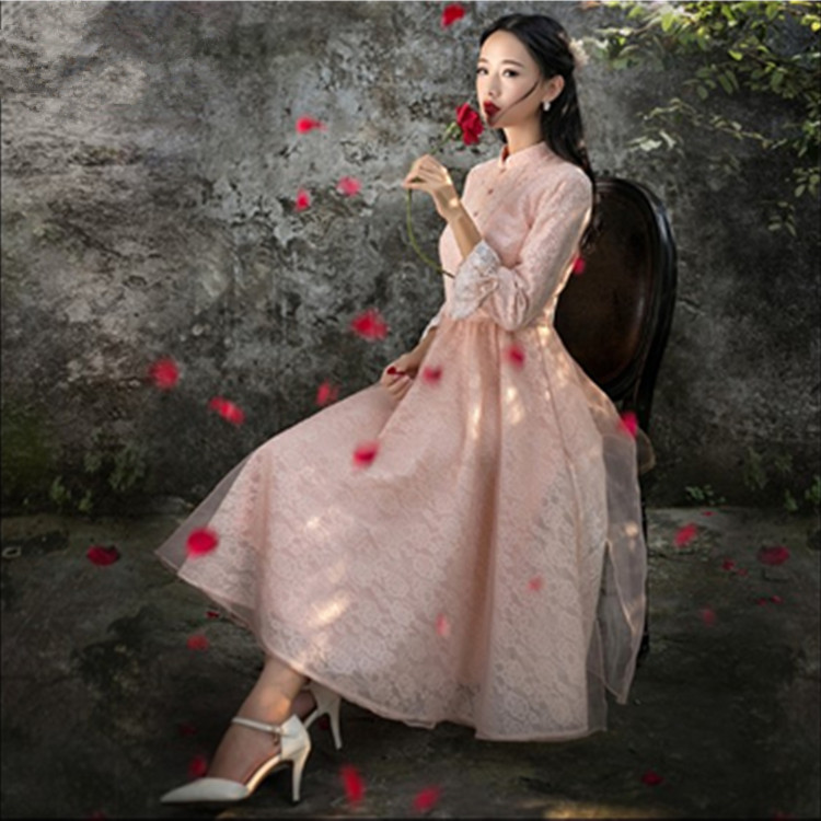 2016 Spring new arrival pink cute girls lace dresses Palace Style princess women Fashion vestidos sister dress