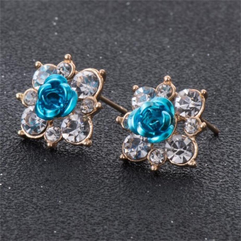 8 цветов новый дизайн модные аксессуары Смола горный хрусталь цветок серьги стержня для Для женщин темперамент леди Лидер продаж лучший подарок