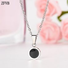 ZFVB Round Pendant Necklaces Women Trendy Jewelry 2019 Stainless Steel Fashion Red Black Necklace Clavicle chain Gift