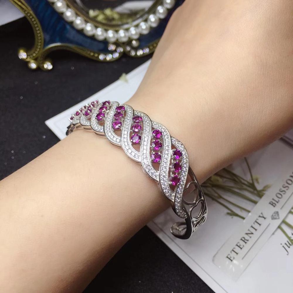Classique spirale style rouge grenat pierres précieuses bracelet femmes 925 bijoux en argent sterling bracelet en argent fille cadeau d'anniversaire gemme naturelle