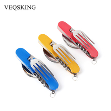 6 in 1 Folding Portable Stainless Steel Camping Picnic Cutlery Knife Fork Spoon Flatware Tableware Travel Kits