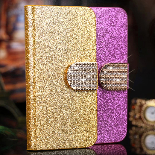 For Fly IQ4415 PU Leather Case Luxury Shiny Diamond Wallet Stand Flip Case For Fly IQ4415 quad Era Style 3 IQ 4415 Cover 4.5
