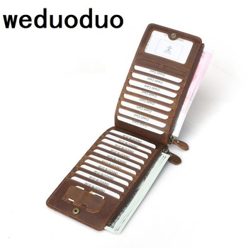 Weduoduo Genuine Leather Vintage Business ID Card High quality Credit Card Holder Case Slot Men's Women Card Purse Slim Wallet