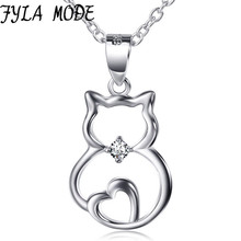 FYLA MODE 100% 925 Sterling Silver Necklace Jewelry Animal Cat Pet Pendant Open Love Heart Necklace For Women Gifts