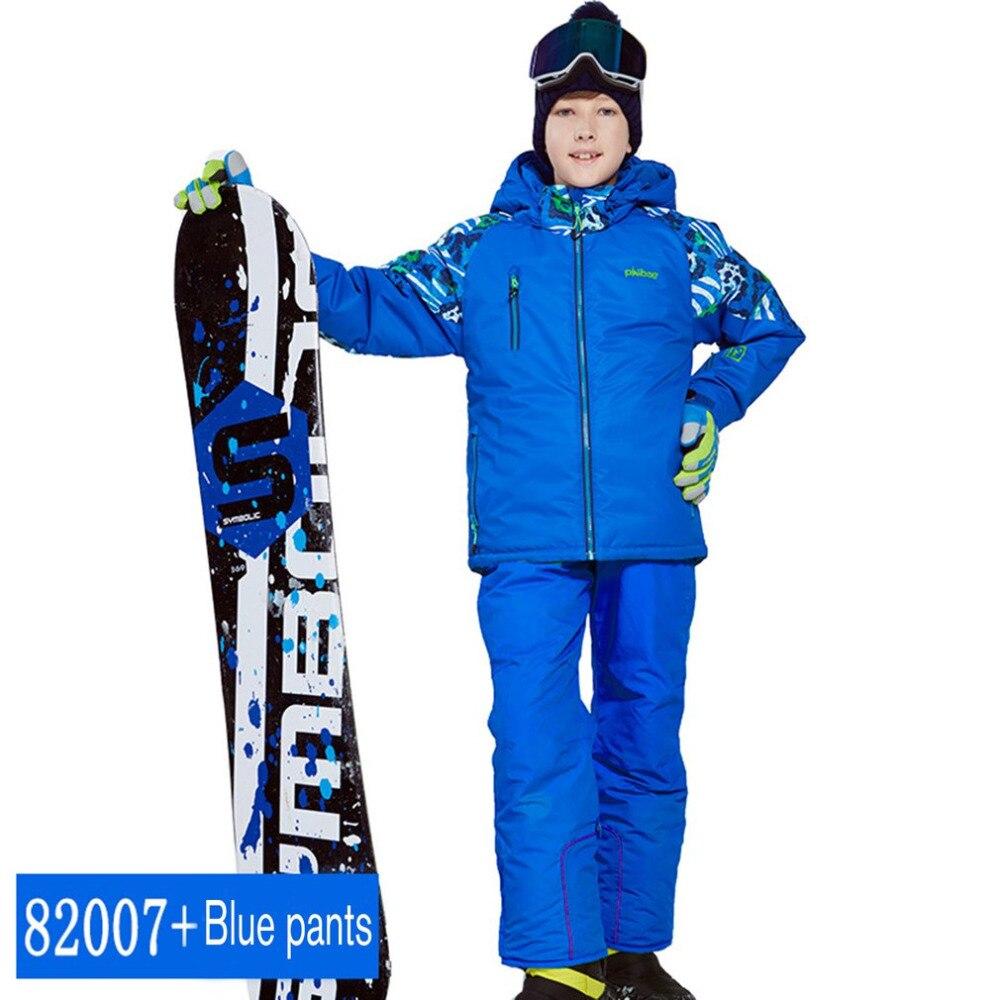 Phibee garçons/filles combinaison de Ski pantalon imperméable + ensemble de veste Sports d'hiver vêtements épaissis costumes de Ski pour enfants nouveauté
