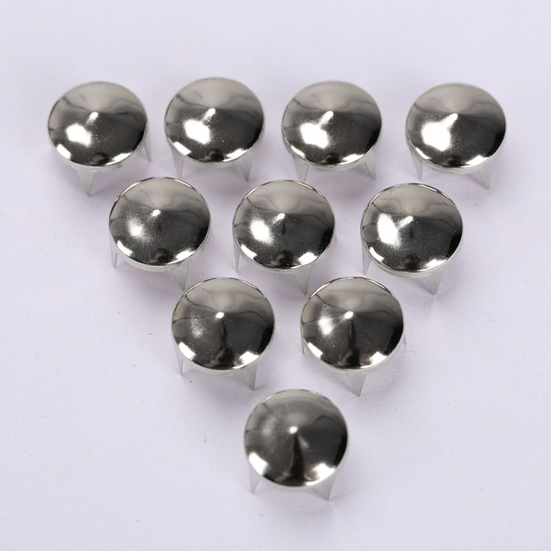 200pcs//lot Silver Copper Round Cone Rivet Spike Studs Spots DIY Punk 12mm for Clothes Clothing Bag Shoes Leathercraft