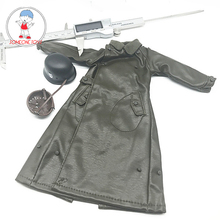 Длинное кожаное пальто, модель одежды для шлема 12 дюймов в масштабе 1:6