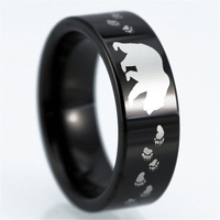 Top Quality Bear Footprint Ring Shiny Black Pipe Tungsten Ring Comfort Fit Design Men S Wedding