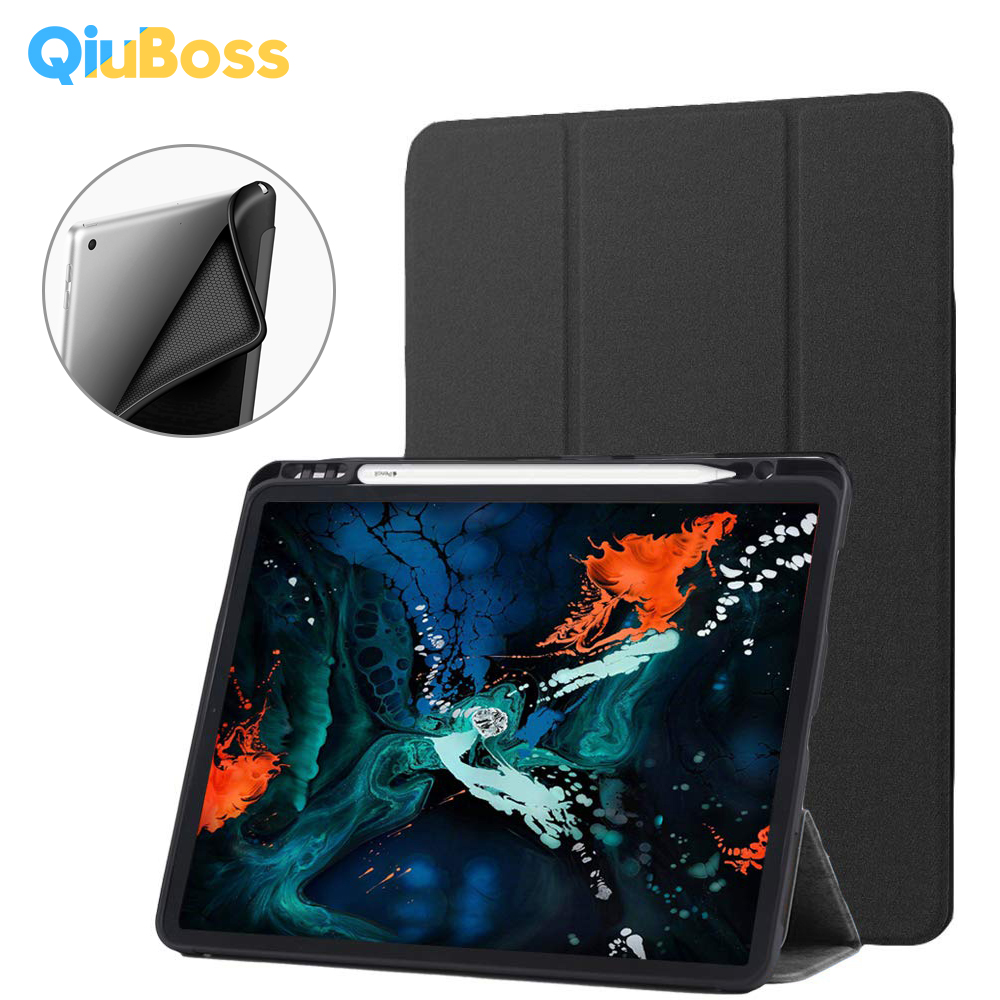 Funda For New iPad Pro 11 2019 Case With Pencil Holder PU Leather Magnetic Stand + Silicone Soft Back Cover For iPad Pro 11 Case