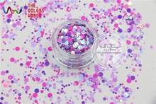 RI321-187  Mix Colors Dot shapes round  Glitter for nail art ,nail gel,makeup and DIY decoration