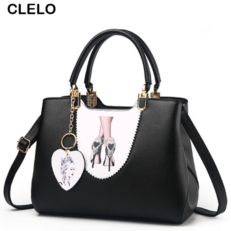 CLELO Luxury Designer Handbags Women Bags Female Fashion Printing Patchwork Pu Leather Shoulder Bag ladies handbags Bolsos Mujer qweek luxury handbags women bags designer 2017 pu leather shoulder bag female printing bolsa feminina mini flap crossbody bags