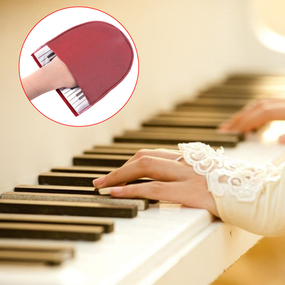 Music Instruments Cleaning Tools Bordeaux Red Piano Clean Glove Keyboard Pattern Flannelett Protect Musical Instrument Cleaning