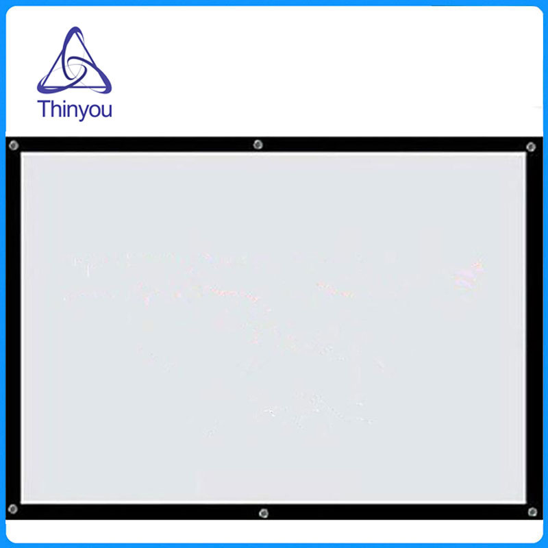 Thinyou 100'' 16:9 Factory supply Simple White Wall Mounted Curtain Portable Folded HD Projector screen