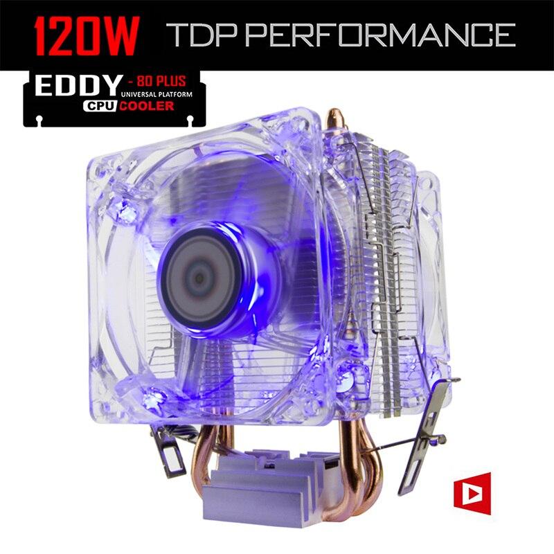 ALSEYE CPU Kühler TDP 120 Watt Dual 80mm LED Fan 2200 RPM & 2 Heatpipes Kühler für i3/i5/i7 LGA 775/115x/1366/AM2 +/AM3 +