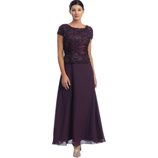 986a97da7f1 2015 Elegant Short sleeve Mother of the Bride Groom Dresses Plus Size Sheer  Scoop A-line Chiffon Mom Dress Evening Gowns Lace