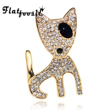 Flatfoosie Cute Bull Terrier Brooches Dog For Women and Men Crystal Fashion Suit Lapel Pins Metal Enamel Animal Brooch Jewelry(China)