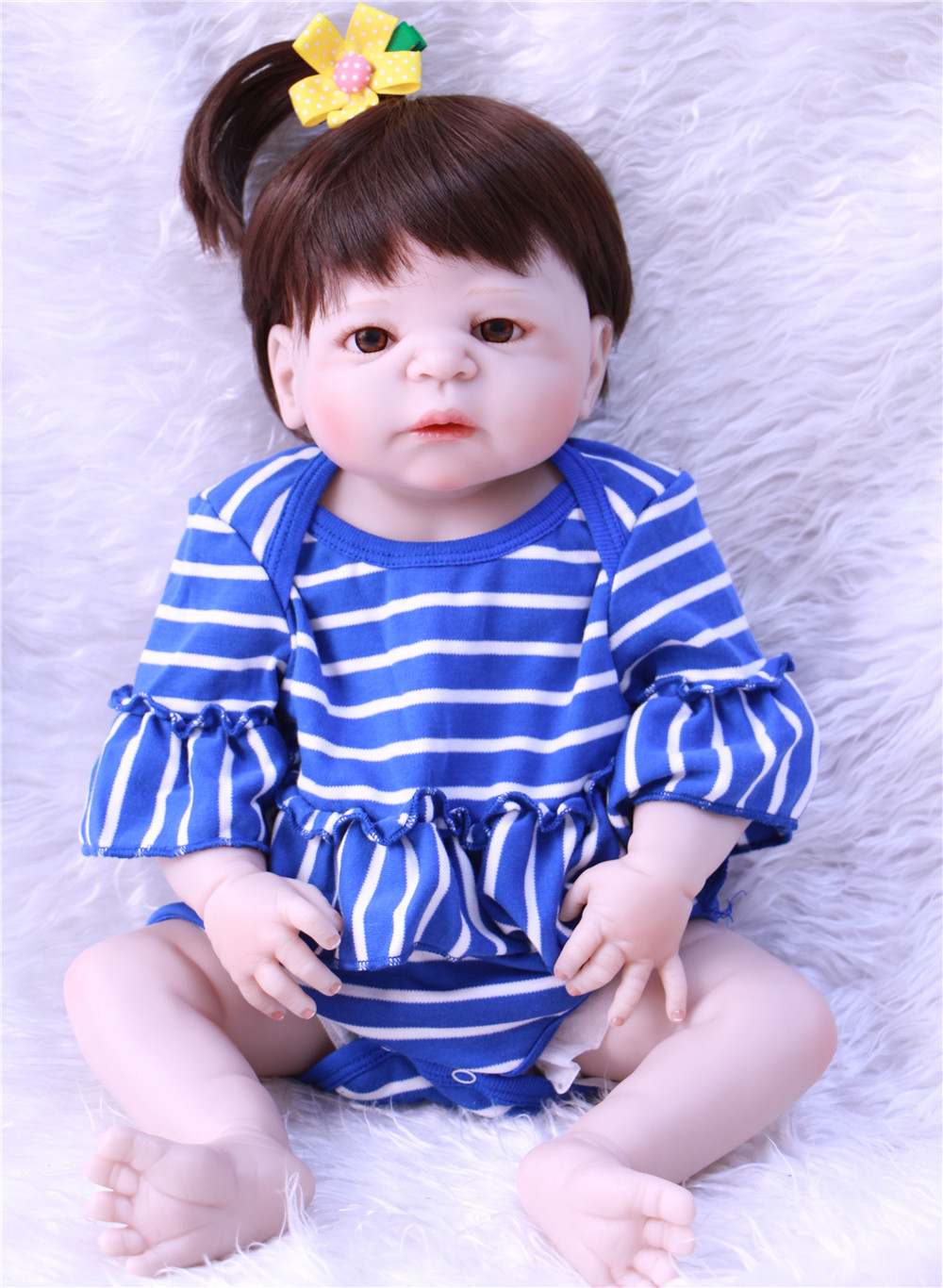 55cm girl bebe reborn Dolls full menina de silicone menina Baby Doll Reborn 22 Inch Vinyl baby born Boneca Doll new style girl dolls full silicone reborn dolls with beautiful dress adora dolls bebe reborn de silicone menica